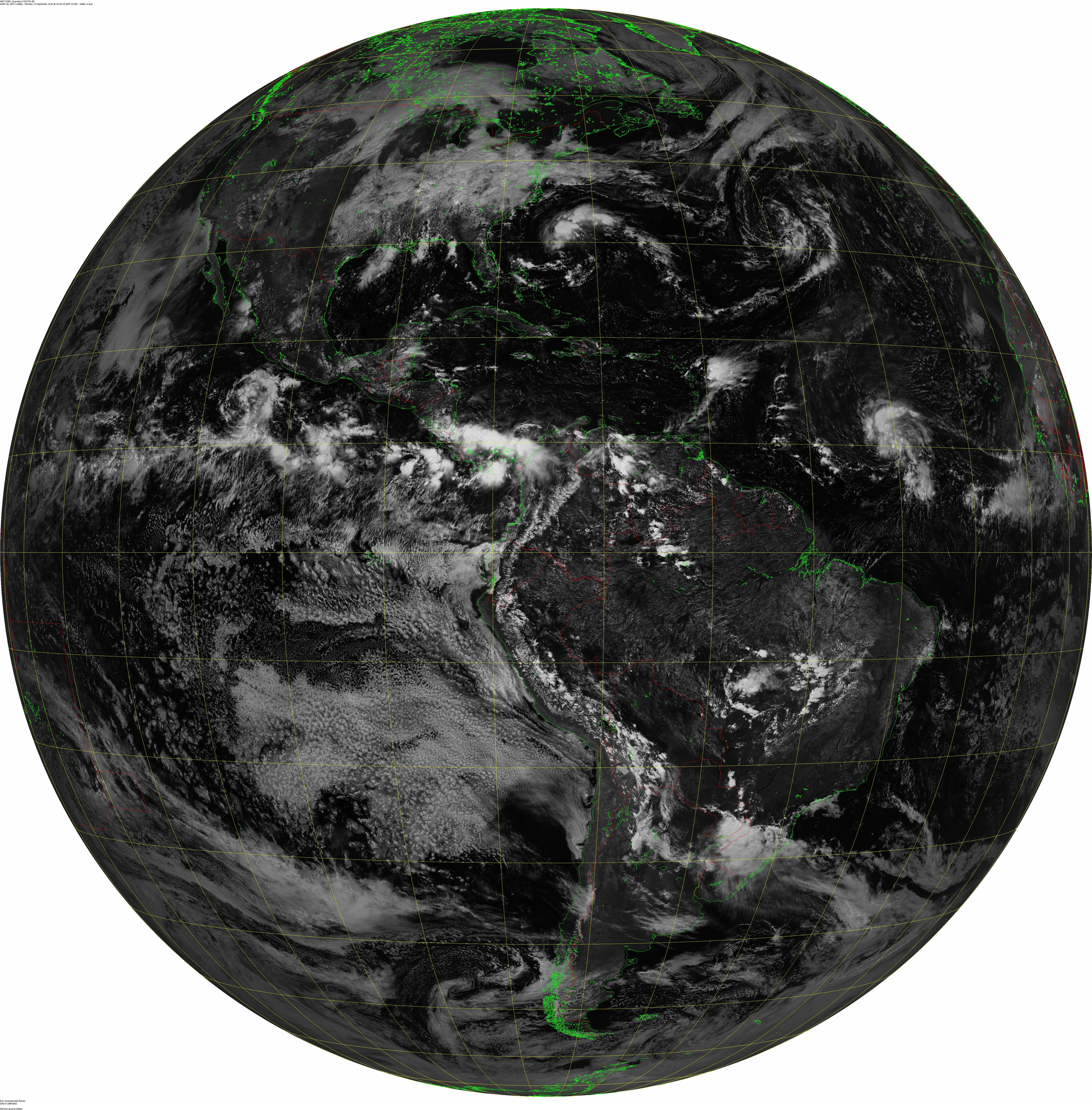 GOES-16 Visual Band 2 Full Disk Imagery